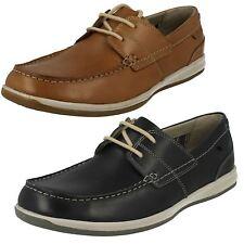 Hombre Azul Marino / Cuero Marrón Clarks Cordones Zapatos Náuticos fallston