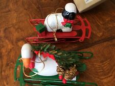"4.5"" RED GREEN  METAL SLED  HOLIDAY CHRISTMAS TREE ORNAMENTS lamb goose present"