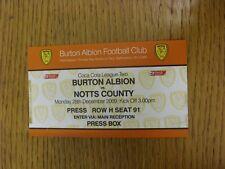 28/12/2009 Ticket: Burton Albion v Notts County [Press Box] . Bobfrankandelvis t