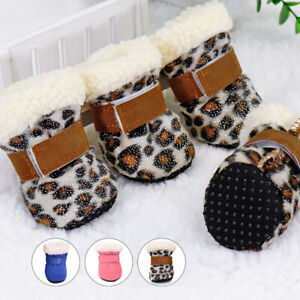 Anti Slip Shoes for Small Dogs Cold Weather Rain Boots Booties Pink Pet Supplies