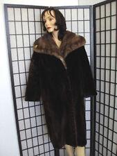~MINT ARCTIC BEAVER FUR COAT JACKET W/ MINK COLLAR WOMAN WOMEN SIZE 12-14 LARGE