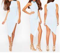 NEW LADIES WOMENS  SLINKY DRAPE ASYMMETRIC DRESS SIZE 8-14