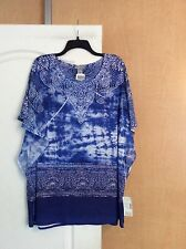 New Catherine's - Blues/multi Color Sheer Sleeves Women Top Plus Size 1X/2X