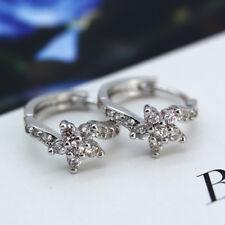 925 Silver Filled Flower Shaped White Zircon Buckle Stud Earrings For Lover Gift