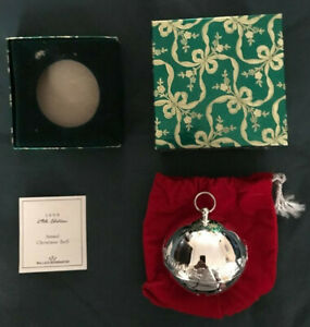 1999 Wallace Silversmiths Annual Silver Sleigh Bell Ornament With Box, Bag & COA