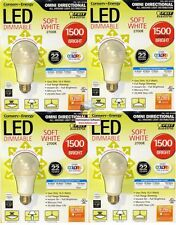 Lot of 4 LED Dimmable 100W 1500 lumens omni directional soft white use 15.5 Watt