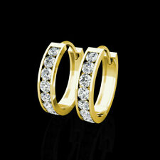 0.50Ct Brilliant Created Diamond 14K Yellow Gold Huggie Hoop Earrings 0.5""