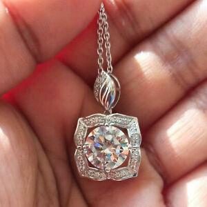 1.15 Ct Round Cut Diamond Vintage Halo Pendant 14k Yellow & White Gold Over