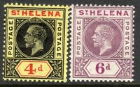 St Helena1913 Postage black/red 4d purple 6d multi-crown CA perf 14 mint SG85/86