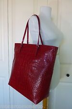 NWT FURLA Cherry Red Distressed Croco Embossed  Leather D-light Tote Bag $378