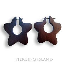 Ohrringe Goa Creolen Holz Wood Piercing Schmuck ER061