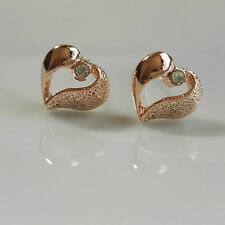 14K/14ct Rose Gold Plated Cute Smooth Matte Heart Crystal Stud Earrings Gift