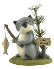 Blossom Bucket Raccoon Gone Fishing Primitive Lodge Decor 87286 Retired