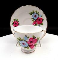 "ROYAL VALE ENGLAND BLUE AND RED FLORAL GOLD TRIM 2 3/4"" CUP AND SAUCER"