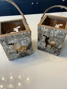 2 X Woodland Christmas Lanterns