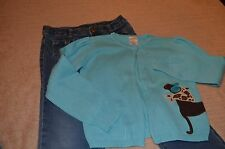GYMBOREE JEANS 6 & GYMBOREE DOG CARDIGAN OUTFIT SMALL 5/6