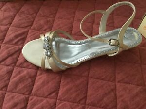 Elena Dyeable Satin Low Heel Sandal with Rhinestones-David's Bridal,Size 7.5