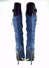 Gianmarco Lorenzi Boots,Luxus Designer, Wildleder Stiefel, Dunkelblau/Lila Gr.39