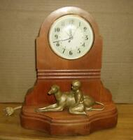 Sessions electric  mantel clock 1940's -  working Wood case  Boy/ dog  statue