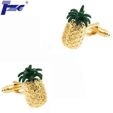 Men Pineapple Ananas Shirt Cufflinks With Velvet Bag TZG Cuff Links