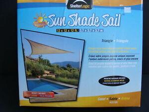 NEW ShelterLogic Sun Shade Sail Triangle Sunshade Awning Canopy 12x12x12 ft NIB