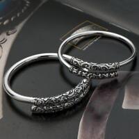 Handmade Thai Silver Vintage Bangle Bracelet Open Cuff Men Women Jewelry Gift