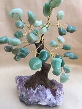 Green Aventurin Tree Bonsai Tree Amethyst Druzy Base Gem Tree Wire Wrapped Tree.