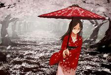 Incorniciato stampa-giapponese geisha passeggiata in un Cherry Blossom Forest (immagine)
