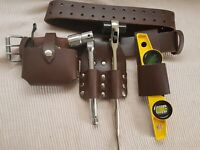 Scaffold Brown Leather Tool Set work Belt Ratchet Spanner Frog Level Holder 4in1