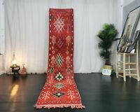 """Moroccan Vintage Handmade Boujaad Runner 2'3""""x11 Geometric Red Wool Berber Rug"""