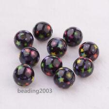 10pcs Black Star Pattern Resin Round Beads Crafts Jewellery Making 10mm Hole 2mm
