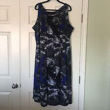 ILE New York Blue & Black Stretch Sleeveless Midi Dress Size 24W