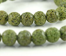 """12MM GREEN VOLCANIC BASALTIC LAVA GEMSTONE OLIVE ROUND 12MM LOOSE BEADS 16"""""""