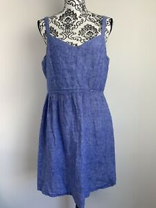 CYNTHIA ROWLEY Size M Blue 100% Linen Shift Lined Dress Made In Italy Pockets