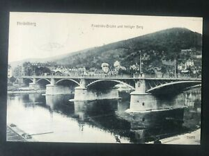 AK Heidelberg Friedrichsbrücke und heiliger Berg gelaufen