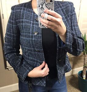 Tahari ASL Petite Tweed Plaid Button Detail Blazer | 8P | NWT