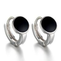 925 Sterling Silver Earrings Hoop Huggie For Women Jewelry Black Round Style