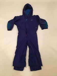 Patagonia Kids Youth Small One-Piece Shell Snowsuit Hooded Full-Zip Blue Teal