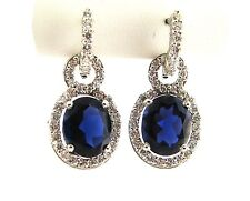 8 CT natural oval shape iolite & round diamond earrings VS2-SI1/F 14K white gold