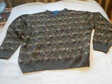 COSBY Style Sweater Men's XL brown swirl Knit Crewneck Towncraft Must See