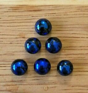 6 tiny BLUE Shimmer Dichroic Fused Glass Cabochons 7mm JEWELLERY/MOSAIC #3h