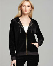 NWT $118 Juicy Couture Black Relaxed Fit Gold Hardware Zip Velour Hoodie-Large