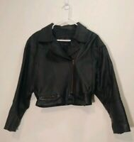 Wilson Vintage Black Cropped Baggy Leather 80's moto Jacket Shoulder Pads-Small