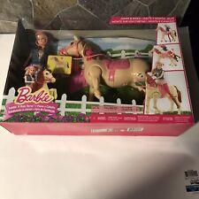 NEW Mattel Barbie Saddle 'N Ride Horse Set #CLD93 Walking Horse/Jumping Doll