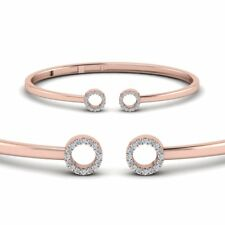 1ct Round Cut VVS1/D Diamond Open Circle Cross Cuff Bracelet 14k Rose Gold Over