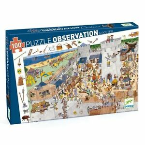 Jigsaw Puzzles-Djeco-Château Fort-Observation Puzzle + Poster-100 Pieces-5+