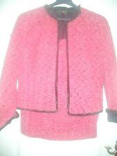 COUTURE ESCADA LUXUS BOUCLE Blazer GLITZER pink tweed Jacket 40/42 Hochzeit weiß