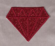 Embroidered Glitter Sparkle Red Ruby Diamond Gem Applique Patch Iron On Sew USA