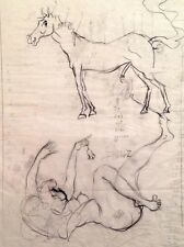 "Julian Ritter_Nude Lady With Horse -2 Charcoal on Vellum_15"" x 19"" Un-Signed-365"