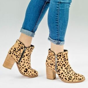 Womens Block Heel Beige Leather Ankle Boot Chelsea Zip Shoe Casual Bootie UK